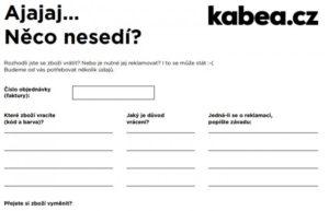 reklamační formulář Kabea